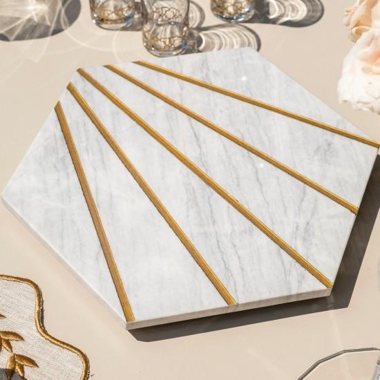 Tepsi Petek 26x30x3 Cm Beyaz Mermer