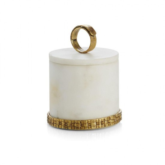 Michael Aram Palm Kutu Beyaz Mermer Antik Altın Kaplama