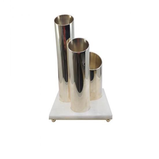 Gani Vazo Gümüş Kaplama Beyaz Mermer