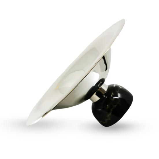 Gondol Cevher Büyük Boy Gümüş Kaplama/Siyah Mermer