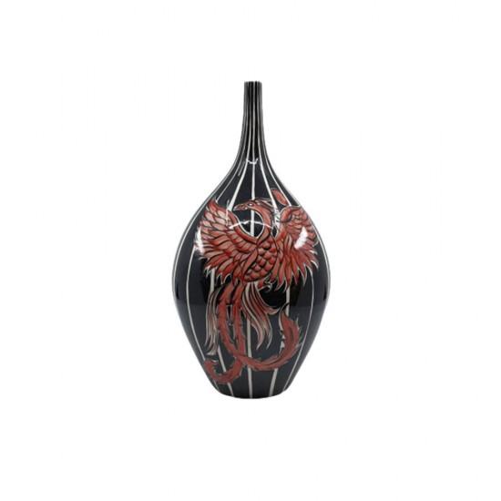 Vazo Anka Kuşu 17x17x32 Cm Siyah/Beyaz/Kırmızı Dekor