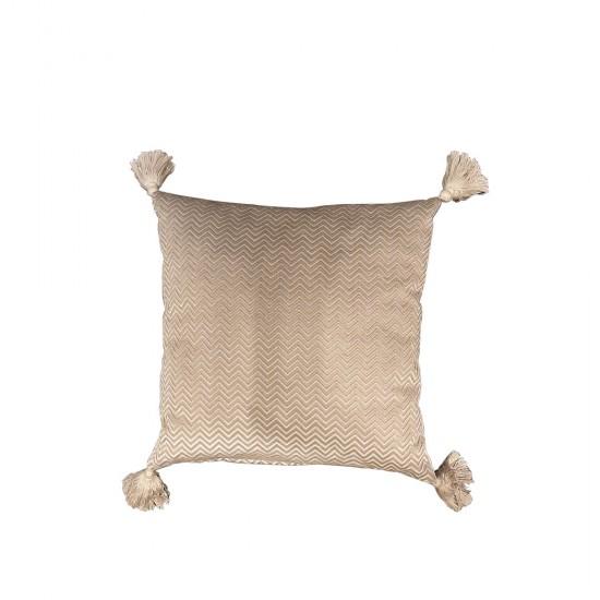 Küçük Zikzak Desenli Ponponlu Yastık
