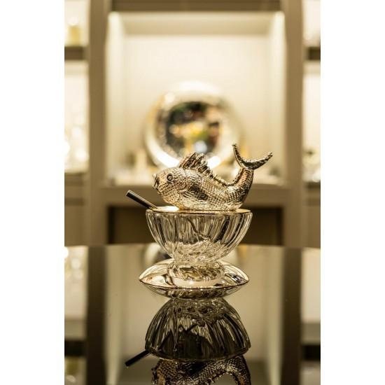Havyarlık Balık Tepelikli Gümüş Kaplama/Şeffaf Cam