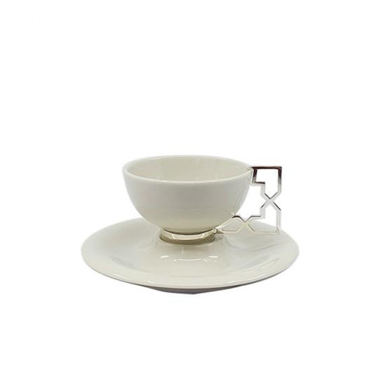 Kahve Fincanı Takımı Aliye Porselen Tabaklı 2'Lİ