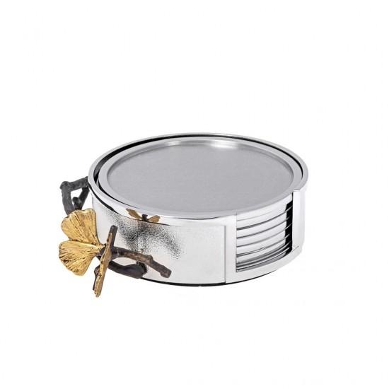 Michael Aram Bardak Altlığı Seti Butterfly Ginkgo Gümüş Kaplama/Altın Kaplama