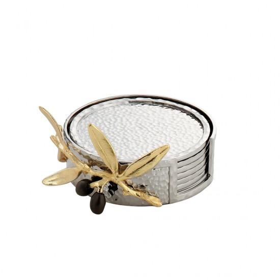 Michael Aram Bardak Altlığı Seti Olive Gümüş Kaplama/Altın Kaplama