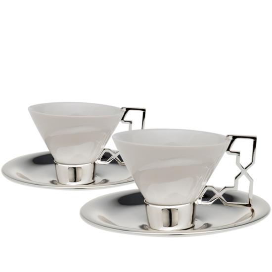 Aliye Çay Fincanı Takımı 2'li Gümüş Kaplama (6 parça)