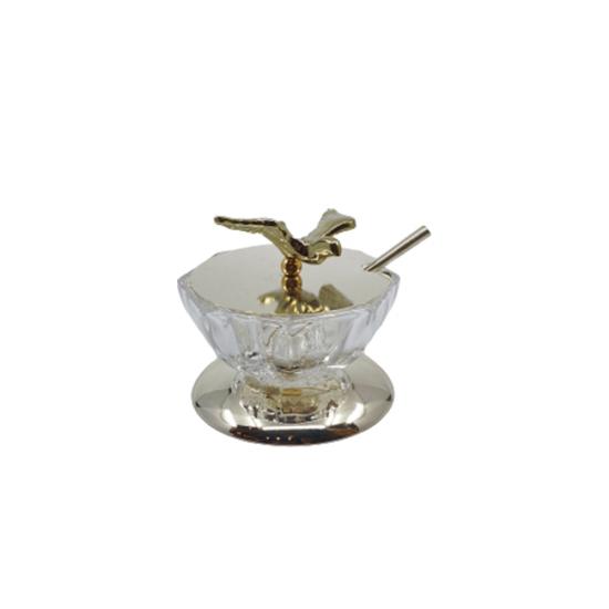 Havyarlık Kuş Tepelikli Altın Kaplama/Şeffaf Cam