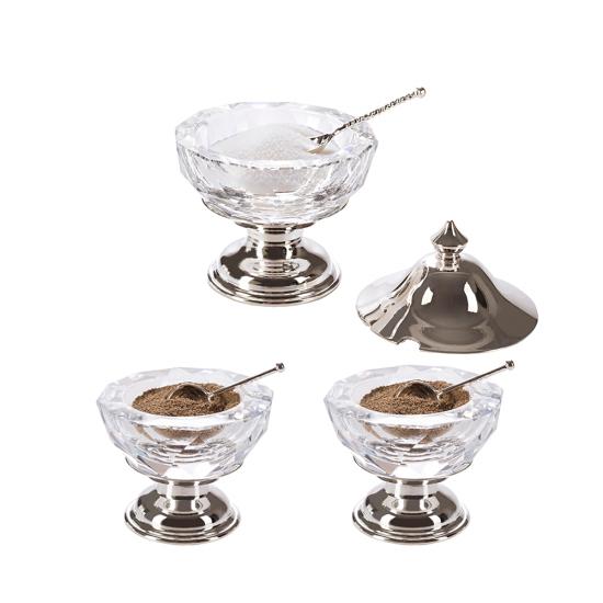 Işıltı Tuzluk Biberlik Seti Gümüş Kaplama Şeffaf Cam
