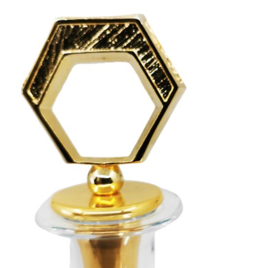 Şerbetlik/karaf Petek Altın Kaplama/Şeffaf Cam