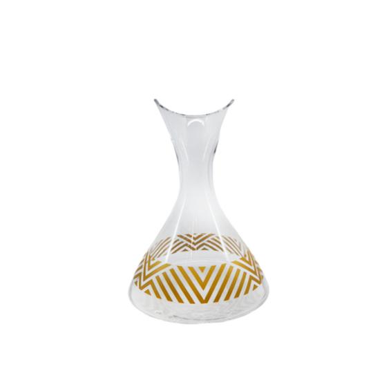 Karaf Zigzag Altın Dekor/Şeffaf Cam