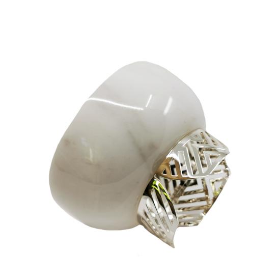 Kase Zigzag Büyük Boy Beyaz Mermer/Gümüş Kaplama