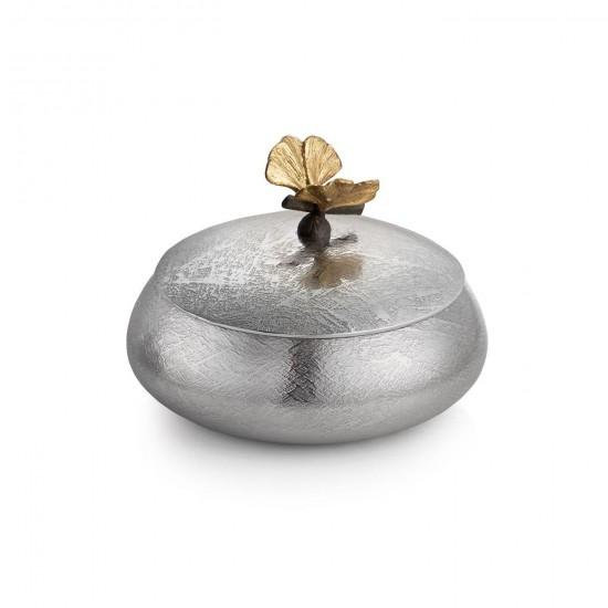 Michael Aram Butterfly Ginkgo Kapaklı Kutu Gümüş ve Altın Kaplama