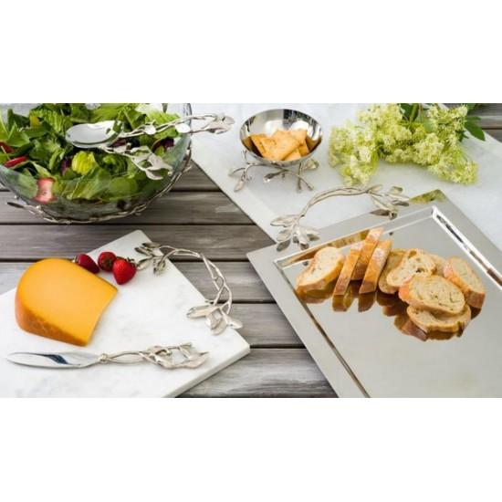 Michael Aram Laurel Bıçaklı Peynir Tabağı Beyaz Mermer Gümüş Kaplama