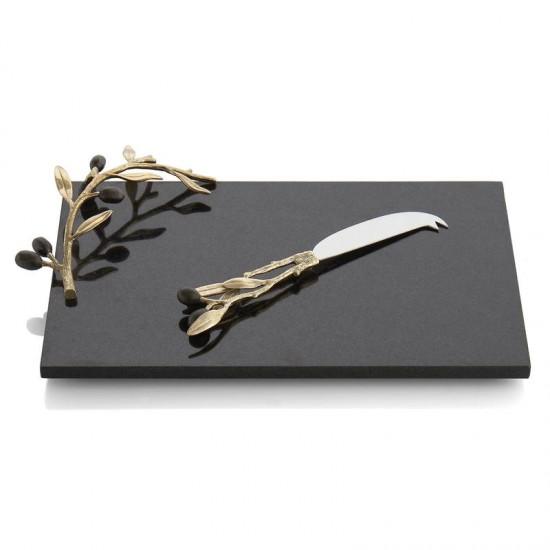 Michael Aram Olive Peynir Tabak Seti Altın Kaplama ve Siyah Mermer