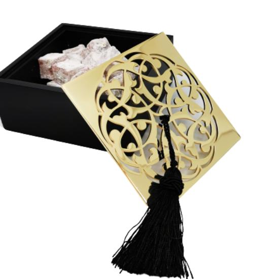 Rumi Desenli Kutu Küçük Boy Pirinç Kaplama