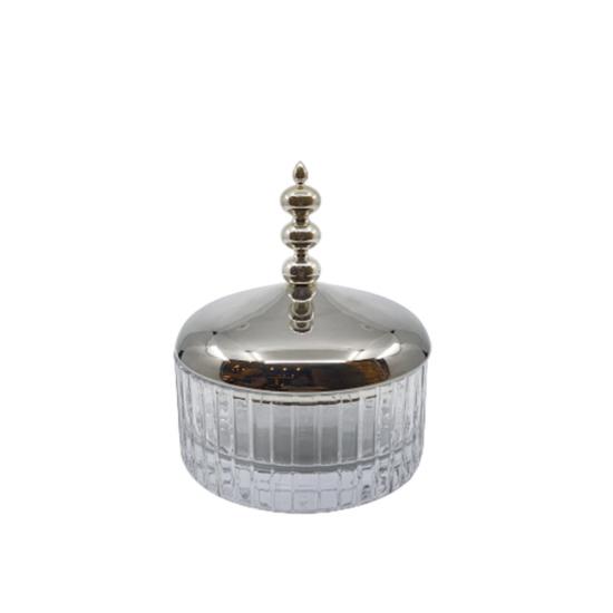 Şekerlik Otağ Çizgili Gümüş Kaplama/Şeffaf Cam