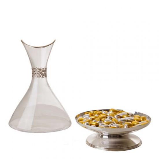 Selçuki Karaf Gümüş Kaplama Platin Dekor