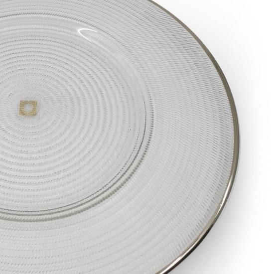 Supla Pür Halka Desen 32cm Platin Dekor/Şeffaf Cam