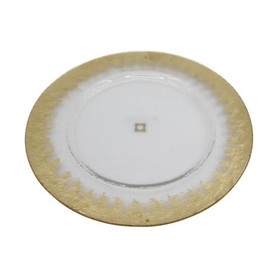 Supla Pür Halka Desen 32cm Altın Dekor/Şeffaf Cam