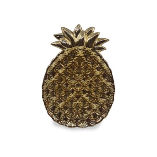 Tabak Ananas Büyük Boy Altın Kaplama