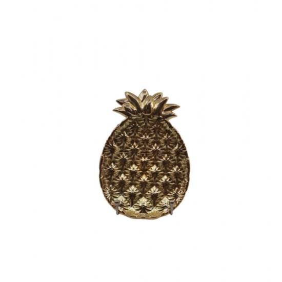 Tabak Ananas Küçük Boy Altın Kaplama