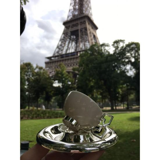 Aliye Kahve Fincan Takımı 2'li Gümüş Kaplama