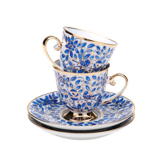 Kahve Fincan Takımı Hoş Eda 2'li Altın Dekor/Mavi Dekor