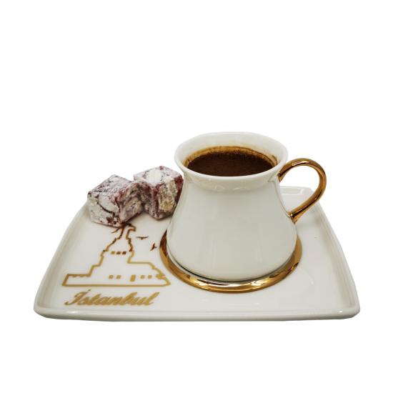 Kahve Fincan Takımı Kız Kulesi Efsanesi 2li Porselen Tabak/Altın Dekor