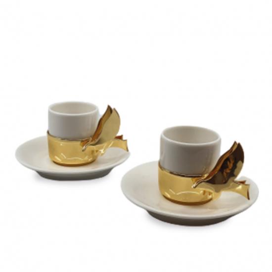 Müjde Fincan Takımı 2'li Altın Kaplama/Porselen