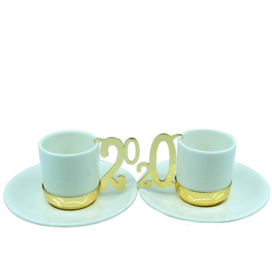 Kahve Fincan Takımı 2020 2'li Altın Kaplama/Porselen