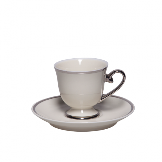 Kahve Keyfi Kahve Fincan Takımı 2'li Platin Dekor
