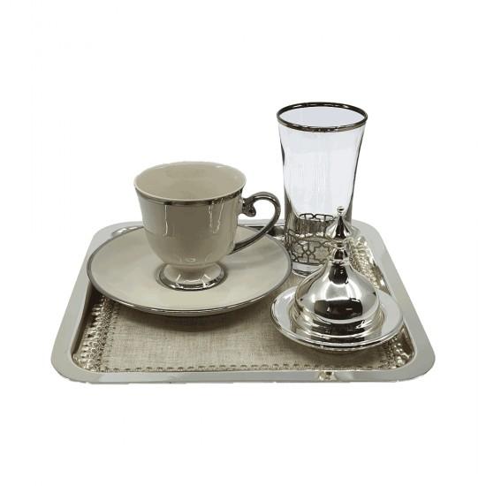 Kahve Keyifliği Takımı Kahve Keyfi Gümüş Kaplama Platin Dekor