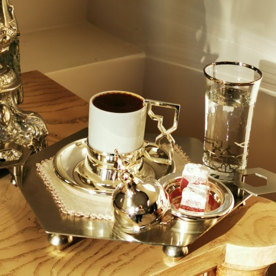 Kahve Keyifliği Takımı Selçuklu Yıldızı 2'li Gümüş Kaplama/Platin Dekor