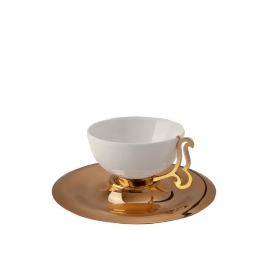 Nazende Kahve Fincanı Takımı 2'li Altın Kaplama