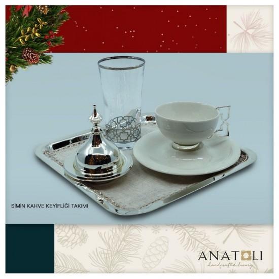 Simin Kahve Keyifliği Takımı Gümüş Kaplama Platin Dekor (7 parça)