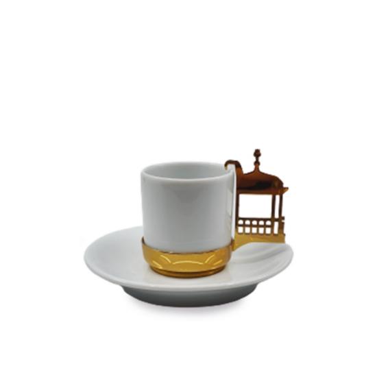 Topkapı Sarayı Fincan Kameriyesi Porselen Tabaklı Tekli Altın Kaplama/Porselen