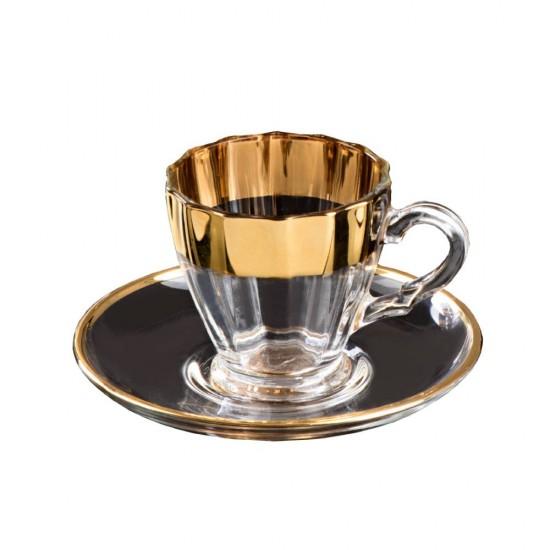 Zer Kahve Fincanı Takımı 2'li Altın Dekor Şeffaf Cam