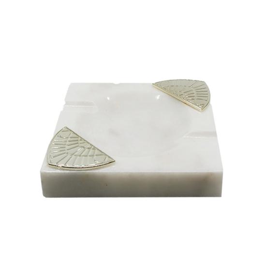 Işın Küllük Beyaz Mermer/Gümüş Kaplama
