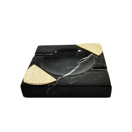 Işın Küllük Siyah Mermer/Altın Kaplama