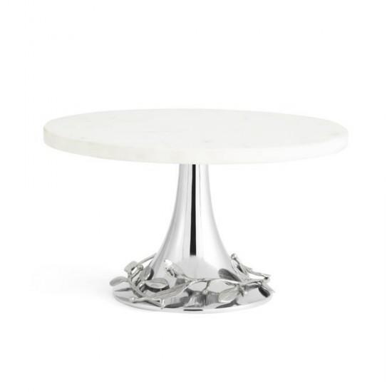 Michael Aram Laurel Kek Standı Beyaz Mermer Gümüş Kaplama