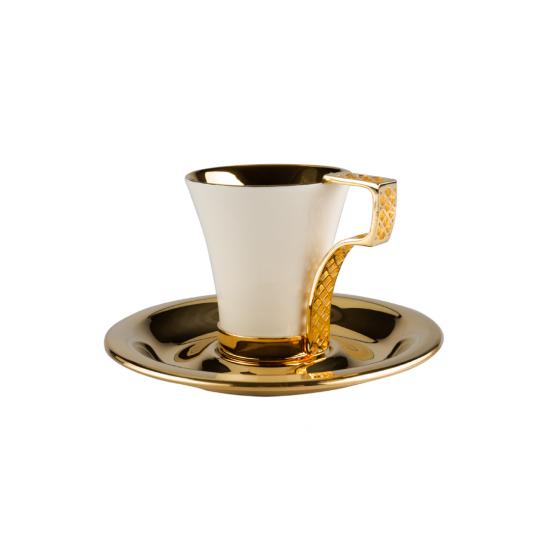 Siyah İnci Kahve Fincanı Takımı 2'li Altın Kaplama (4 Parça)