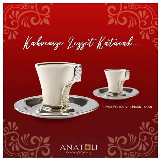 Siyah İnci Kahve Fincanı Takımı 2'li Gümüş Kaplama (4 parça)