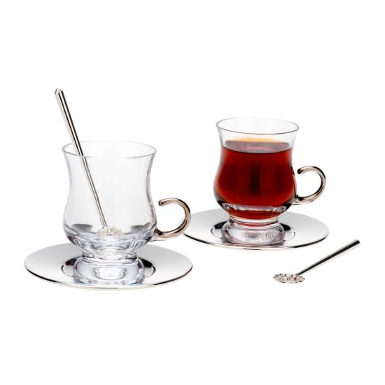 Tiryaki Çay Takımı 2'li Gümüş Kaplama Şeffaf Cam (6 parça)