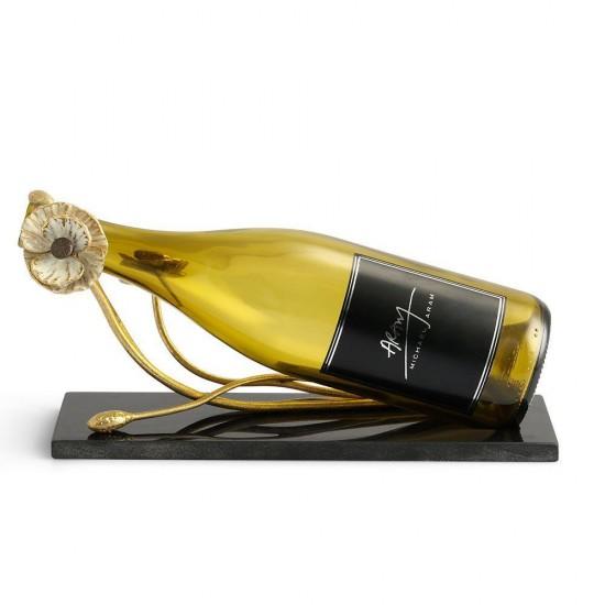 Dekoratif Obje Şarap Tutucu Anemone Altın Kaplama