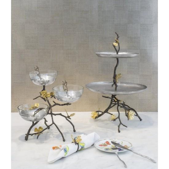Kek/meyve Standı Butterfly Ginkgo 2'li Altın ve Gümüş Kaplama