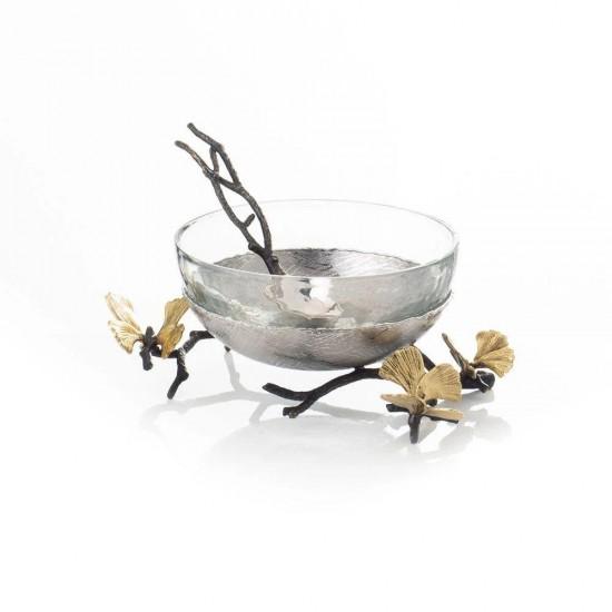 Kaşıklı Kase Butterfly Ginkgo Altın ve Gümüş Kaplama