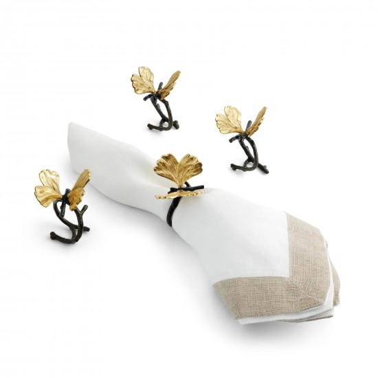 Peçete Halkası Butterfly Ginkgo 4lü Altın Kaplama