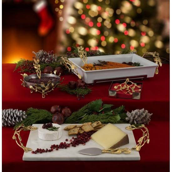 Peynir Tabağı Mistletoe ile Spatula Beyaz Mermer ve Pirinç