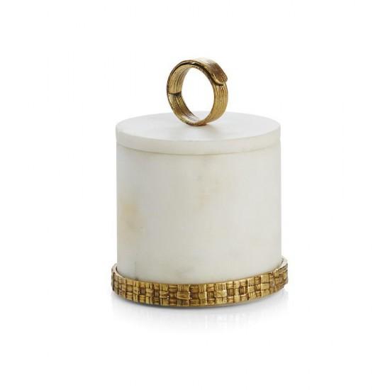 Kutu Palm Beyaz Mermer Antik Altın Kaplama